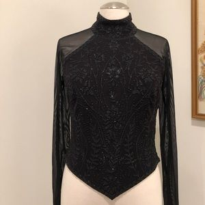 vintage beaded and mesh formal evening top